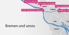 Ein Ausschnitt der Karte aller Apotheken des Gesundheitsnetz Bremen