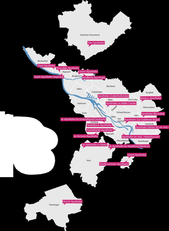 Eine Karte von Bremen mit allen Apotheken des Gesundheitsnetz Bremen